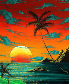 IMAGES OF tropical art | ... Surreal Tropical Coastal Art Original Painting Tropical Burn By Madart