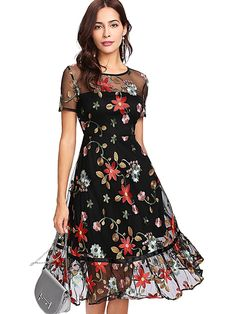 b7d5cb29aae1 Verdusa Women s Floral Embroidered 3 4 Flounce Sleeve Dress at Amazon  Women s Clothing store