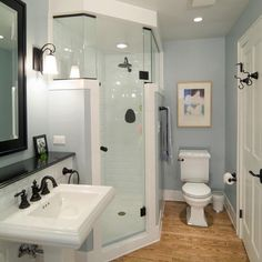 corner shower with glass door and higher glass sides wall on the outside can be - Shower Ideas