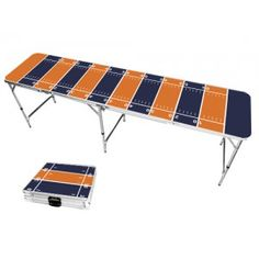Orange & Navy Blue Football Field 8 Foot Portable Folding Tailgate Beer Pong Table from TailgateGiant.com