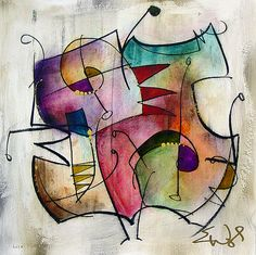 Eric Waugh - I have a Waugh over my piano in the living room. Picasso Paintings, Music Painting, Line Patterns, Cubism, Contemporary Art, Abstract Art, Watercolor, Canvas, Creative