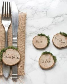 Rustic wood slice and moss wedding place settings / escort cards, perfect for an. Rustic wood slice and moss wedding place settings / escort cards, perfect for an outdoor woodland or barn wedding. French Blue Wedding, French Wedding Decor, Winter Wedding Decorations, Moss Wedding Decor, Moss Decor, Rustic Wedding Table Decorations, Barn Wedding Centerpieces, Box Decorations, Ceremony Decorations