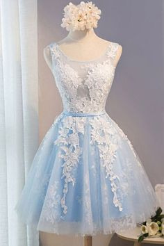 Light Blue Homecoming Dress,Tulle Llace Applique O-neck Short Prom Dresses with Straps HCD25