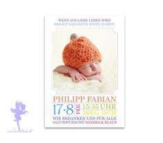 Babykarte Geburtskarte Philipp von Feenstaub auf DaWanda.com