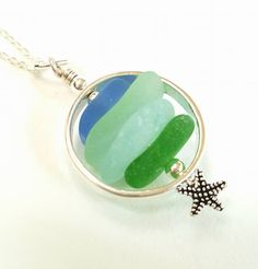 GENUINE Sea Glass Necklace In Sterling Silver Circle With Starfish