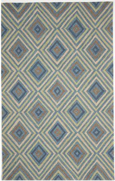 5' x 8' Blue Green Brown Hand Tufted Wool China Area Rug SALE