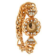 Boucheron Lady's Yellow Gold and Diamond Retro Braclet Watch circa 1940s