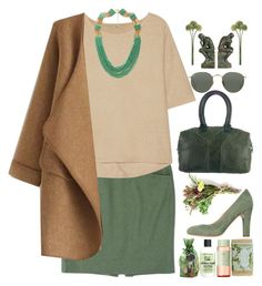"""Khaki Cardigan"" by grozdana-v ❤ liked on Polyvore featuring Rena Lange, Halston Heritage, Forever 21, Carmens, Ray-Ban, Yves Saint Laurent, Benzara, WithChic, K. Hall Designs (Simpatico) and Rosemira"