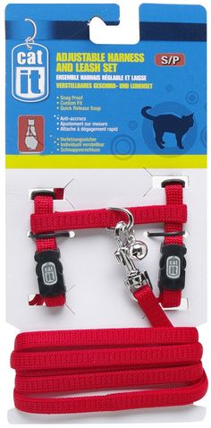 Catit Nylon Adjustable Cat Harness and Leash Set, Small, Red *** Read more  at the image link.