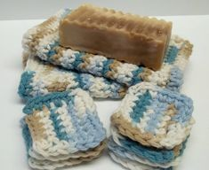 turquoise tan brown crocheted face scrubs eye pad makeup remover by recupefashion, $8.00