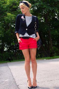red shorts... so cute