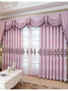 Embroidered European style Purple Brown Blue color Floral Waterfall and Swag Valance and Sheers and Custom made Curtains Pair(Color: Purple)