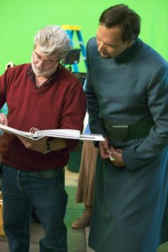 George Lucas & Jimmy Smits on the set of Revenge of the Sith