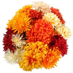 Large faux mums in shades of autumn are a lovely addition to centerpieces, mantels, and fall floral arrangements. Also great for resale at florist shops and craft stores. Case includes 36 – 5-st Fall Floral Arrangements, Fall Flowers, Thanksgiving Decorations, Dollar Tree, Craft Stores, Fall Decor, Garden, Holiday, Plants