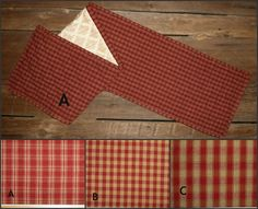 Red Quilted Table Runner Sizes 36, 42, 48, 54, 60, 66, 72 inch Primitive Country - More Variety Table Runners Available at Stoney Ridge Creations