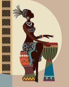 African Art African American wall Art African Woman by iQstudio Art africain Art mural femme africaine africaine par iQstudio Black Women Art, Black Art, Red Black, Afrika Tattoos, African Wall Art, South African Art, Afrique Art, African Art Paintings, African American Art