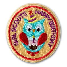 HAPPY BIRTHDAY OWL IRON-ON PATCH, for each girl on her birthday