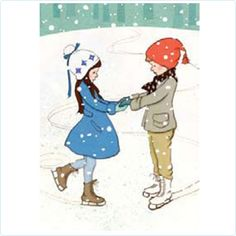 "Postkarte Belle & Boo ""X-Mas Eislauf"" - LolaKids"