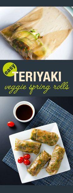 Teriyaki Veggie Spring Rolls - a simple, tasty vegan and gluten free recipe | VeggiePrimer.com