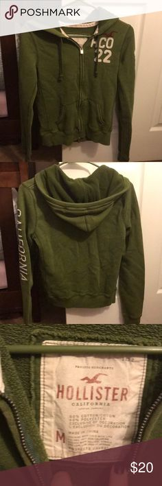 Hollister hoodie Green Hollister hoodie in great used condition!  Minor fading throughout Hollister Tops Sweatshirts & Hoodies