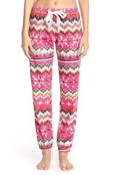 kensie 'Curled Up' Print Fleece Pants