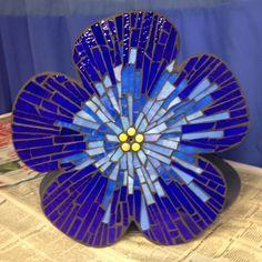Stained glass flower on aluminium base