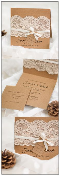 vintage rustic folded wedding invitations with lace and ribbon EWLS045