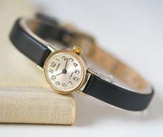 Small women's watch Sekonda gold plated micro watch by SovietEra