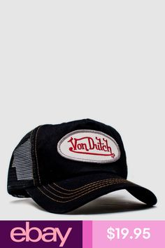 012e645d Authentic New Von Dutch Adult Black/Black Baseball Cap Hat Trucker Mesh  Snapback