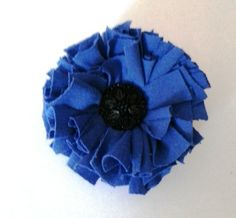 Eco Friendly  Flower Brooch Vintage Button Bright Blue, recycled T Shirt £8.00