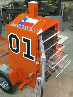 "The ""General Lee"" of Smokers! Bbq Smoker Trailer, Bbq Pit Smoker, Diy Smoker, Barbecue Smoker, Homemade Smoker, Bloody Mary, Custom Bbq Grills, Custom Smokers, Grill Time"