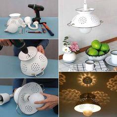 Lampe fabriquée avec une passoire de métal.
