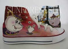 Beauty and the Beast /converse ALL STAR/hand by SUNFORESTSEA, $99.00