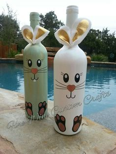 Learn how to Make Easter Wine Bottle Crafts easter eastercrafts spring Glass Bottle Crafts, Wine Bottle Art, Diy Bottle, Crafts With Wine Bottles, Decorating Wine Bottles, Bottle Decorations, Bunny Crafts, Easter Crafts, Holiday Crafts