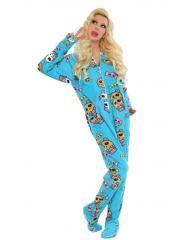 Blue Peek-A-Bear Drop Seat onesie Adult Pajamas = $24.95