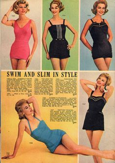 Stylish one-piece swimsuits from Lana Lobell, 1962. #vintage #1960s #summer #fashion #catalogs
