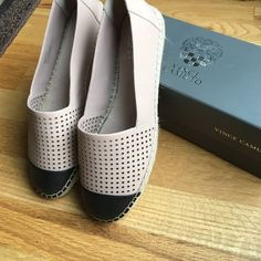 Vince Camuto Espadrilles Brand new, never worn Vince Camuto slip on espadrilles. Nude perforated leather with solid black top cap.  Just in time for summer! Vince Camuto Shoes Espadrilles