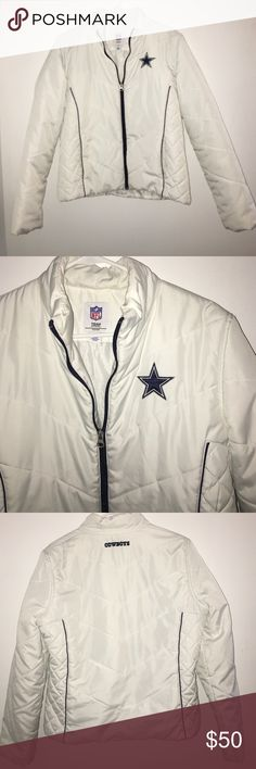 Dallas Cowboys jacket Women's NFL Dallas Cowboys size large has one minor stain near zipper (hardly noticeable) NFL Jackets & Coats Puffers
