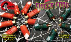 Finger Food (Zombie Style or Freshly Severed) - The Homicidal Homemaker shows you how to create gruesome Finger Food for your next party two ways - Zombie Style, or Freshly Severed!