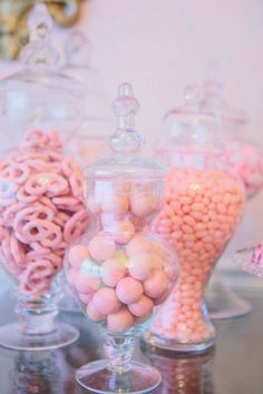 Princess For A Day Party. These pink candies are delightful! Fill glass vases with different candies for guests to take home or enjoy at the party.