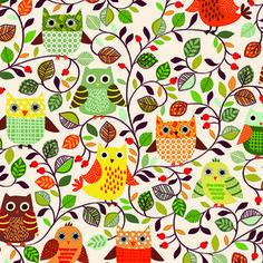 Makower UK - Forest Friends - Owls in Neutral