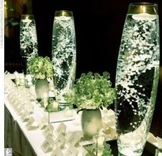 so simple!! BABYS BREATH looks gorgeous submerged in water
