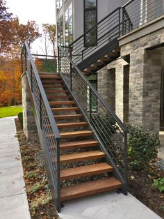 finelli architectural iron and stairs custom handmade exterior wood and iron staircase made in cleveland ohio - treppe. Outdoor Stair Railing, Porch Stairs, Front Stairs, Metal Deck Railing, Black Railing, Front Porch Railings, Cable Railing, Banisters, Concrete Stairs