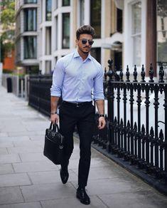 Light blue pinstripe shirt, black leather belt, black dress pants, and Oxford dress shoes Black Pants Outfit, Polo Outfit, Shirt Outfit, Dress Pants, Dress Shoes, Black Trousers, Formal Men Outfit, Men Formal, Work Outfit Men