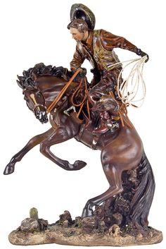 Cód. 107.084 - Cowboy Domando Cavalo Oldway - 46x31x20