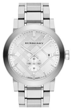 Free shipping and returns on Burberry 'New Classic' Check Stamped Bracelet Watch, 42mm (Regular Retail Price: $495) at Nordstrom.com. Bold texture and a sub seconds dial update Burberry's classic check-stamped dial on a clean, handsome bracelet watch with a smooth, brushed-metal finish.
