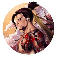 (@vinadou) | Twitter Genji Overwatch, Overwatch Reaper, Overwatch Fan Art, Shimada Brothers, Hanzo Shimada, Little Bit, Character Concept, Drawing Sketches, Dancer