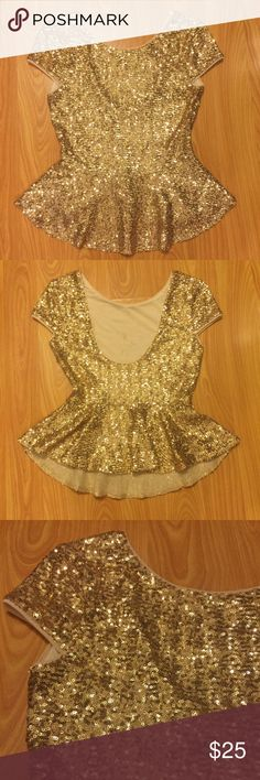 ✨Sequin Bebe Peplum Top✨ ✨Sequin Bebe Peplum Top✨ Brand | Bebe  Size | XS  Color | Gold  Super cute for Christmas, New Years Eve, NYE, Birthdays and much more!  _some makeup/spray tan stain inside, not on outside or noticeable. bebe Tops