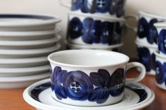 Vintage Arabia Finland Blue Anemone Flat Cup and by foxbride