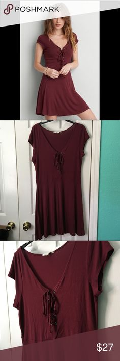 American Eagle Burgundy Soft & Sexy stretchy Dress The most comfortable dress ever! Score this gem before it's gone. Preloved American Eagle Burgundy dress with the super cool lace up front! Stretchy and casual. A must have for any gals wardrobe. Please see photos for measurements. •NO TRADES• American Eagle Outfitters Dresses
